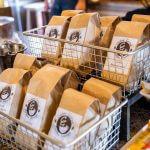 Display of Cedar Grove Coffee House coffee bags