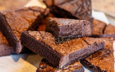 Plate of brownies cut into triangles and stacked on top of each other